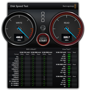Samsung 840 Pro BlackMagic Disk Speed Test result